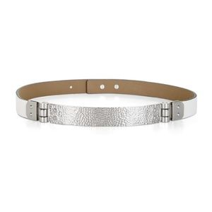 BCBG White Waist Belt Faux Leather Silver Hinge